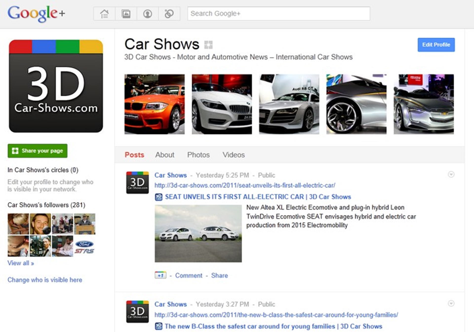 3D Car Shows Google+
