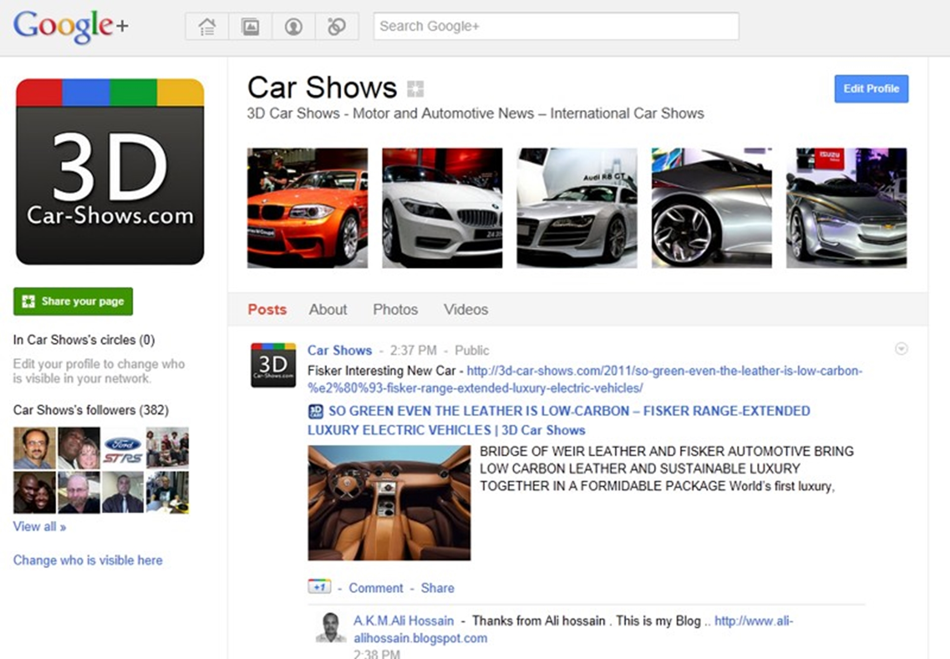 3D Car Shows on Google Plus