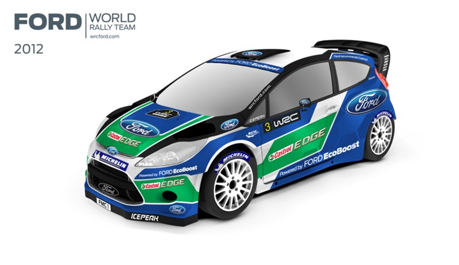 The Fiesta RS World Rally Car in its 2012 livery