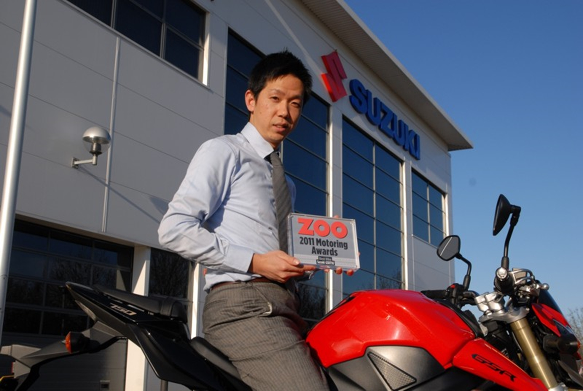 Suzuki's Tom Taniguchi is pictured on the GSR750