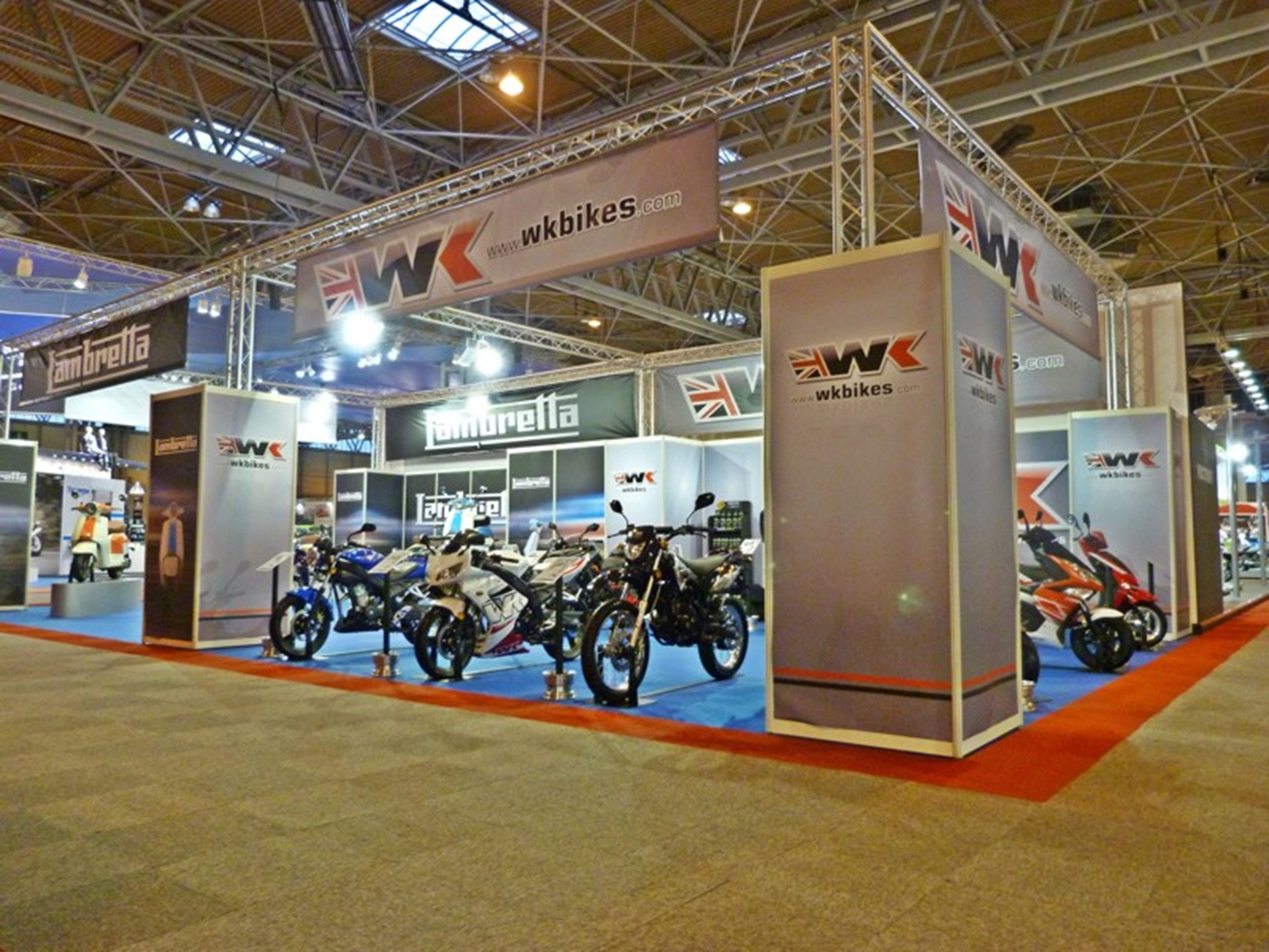 The joint WK and Lambretta stand at Motorcycle Live