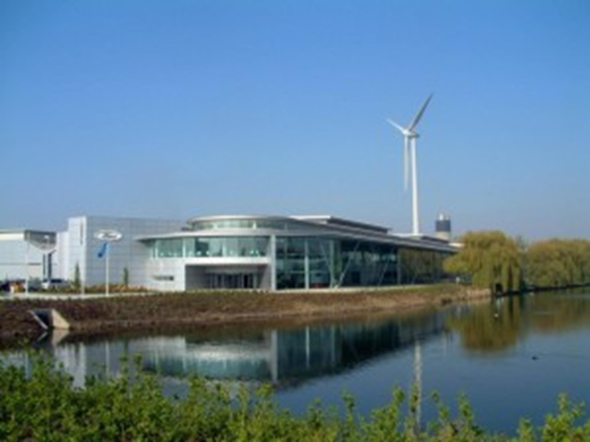 Dagenham Diesel Centre,with wind turbine behind 2004.