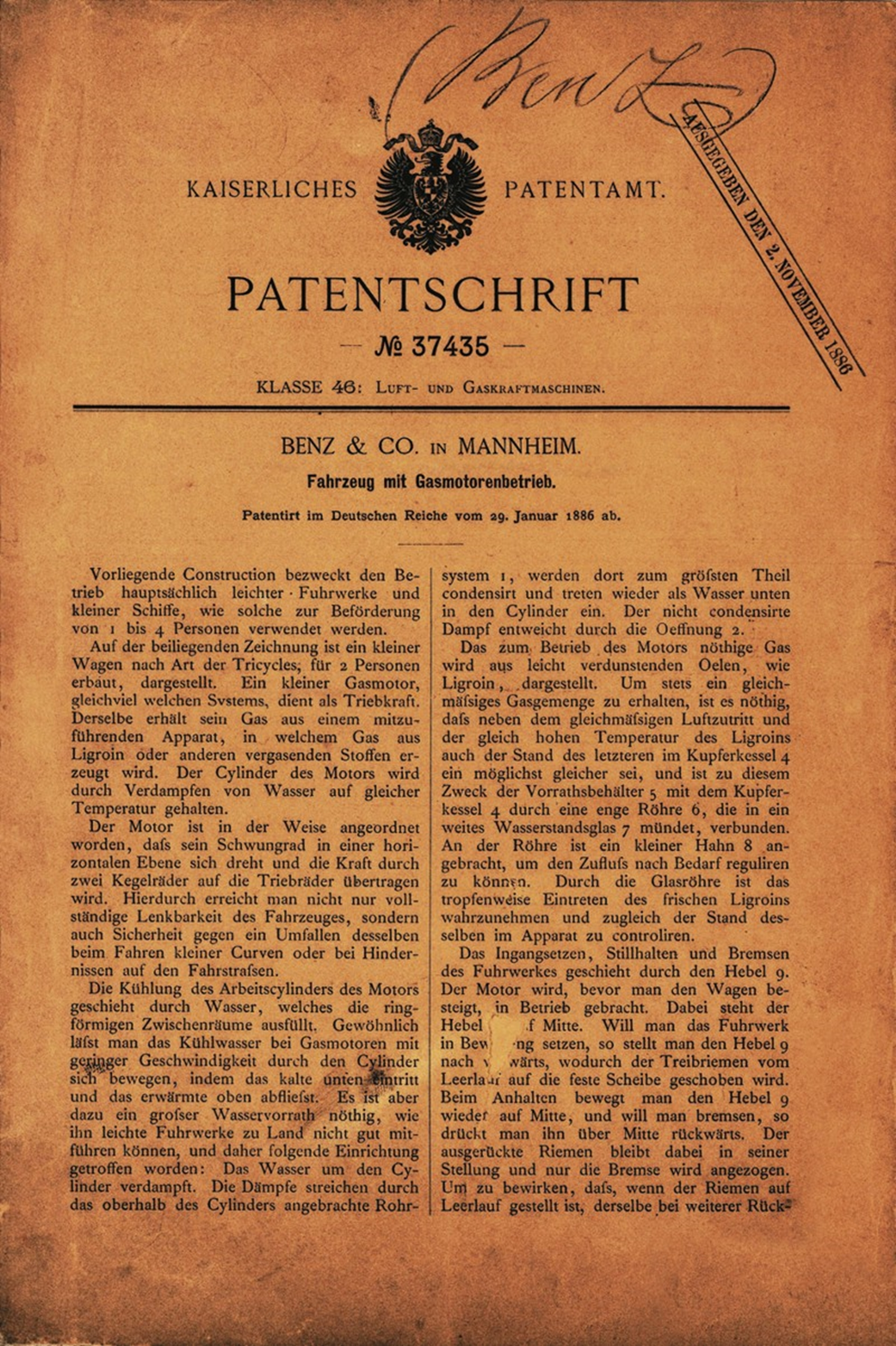 Mercedes-Benz German Patent