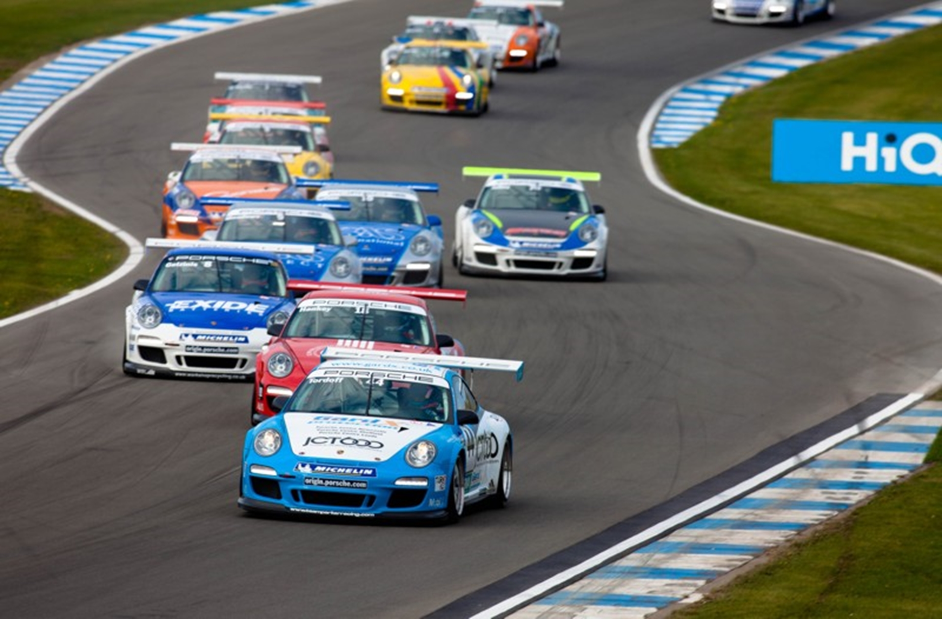 Close racing is typical of the Porsche Carrera Cup GB...