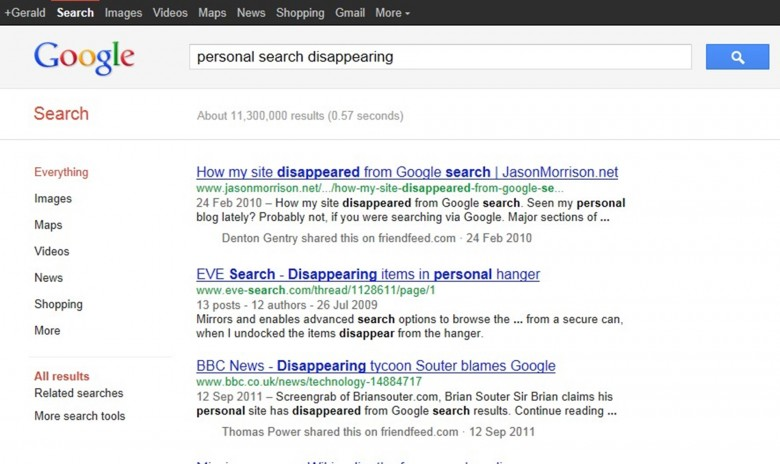 personal search disappearing
