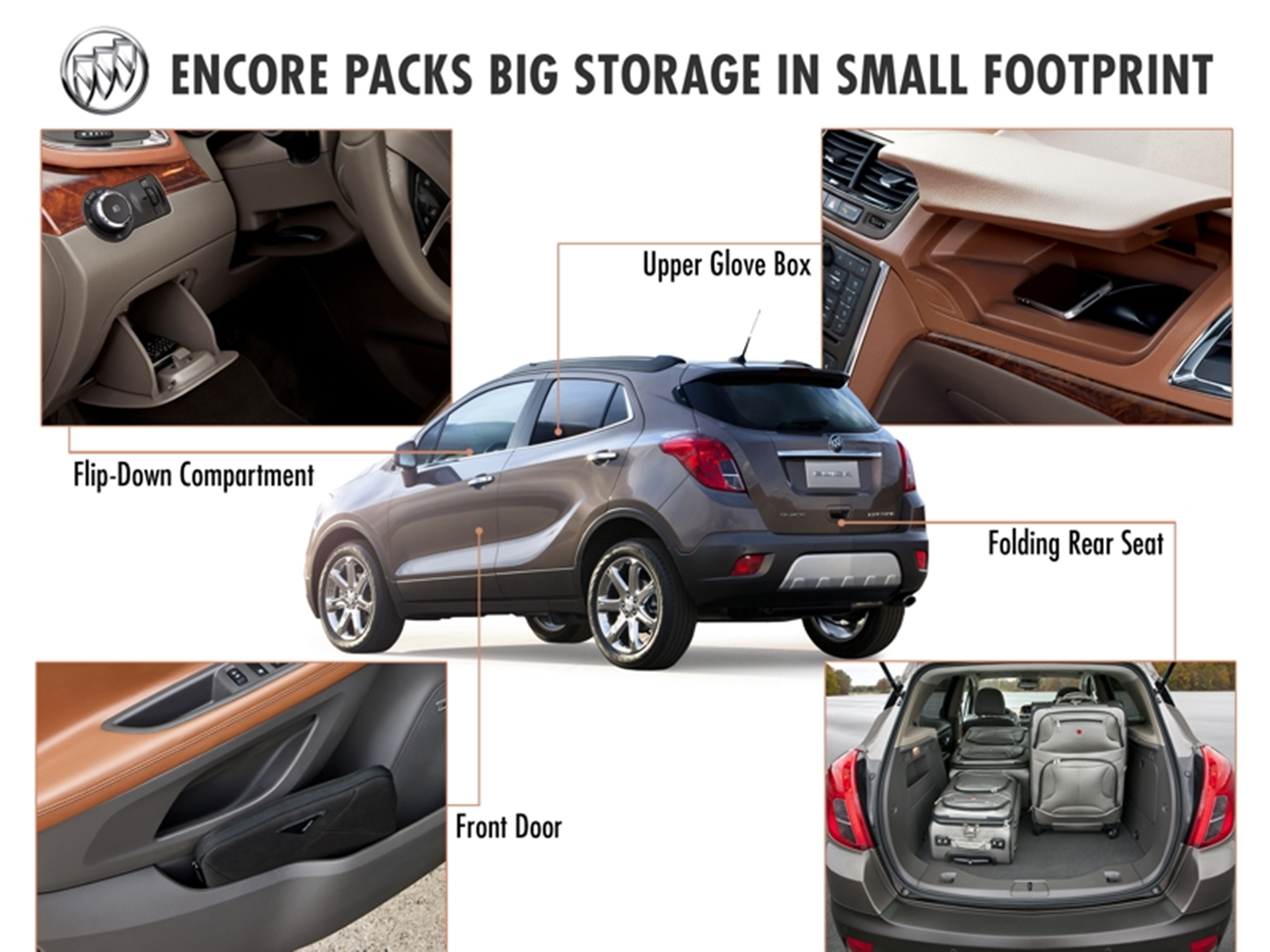 buick encore packs big storage in small footprint. Black Bedroom Furniture Sets. Home Design Ideas