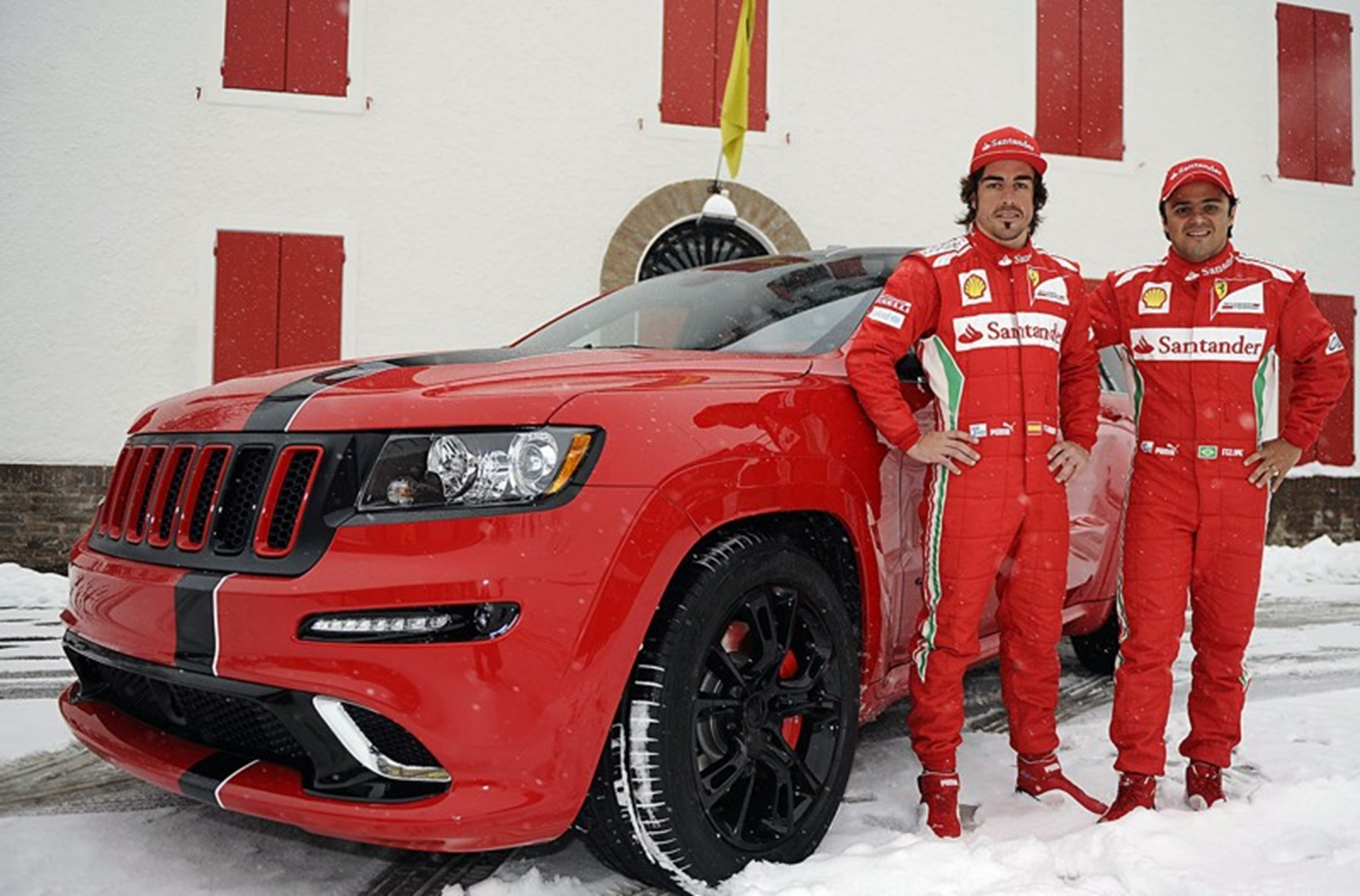 Two Ferrari-style custom-built jeep Grand Cherokee SRT8 models...