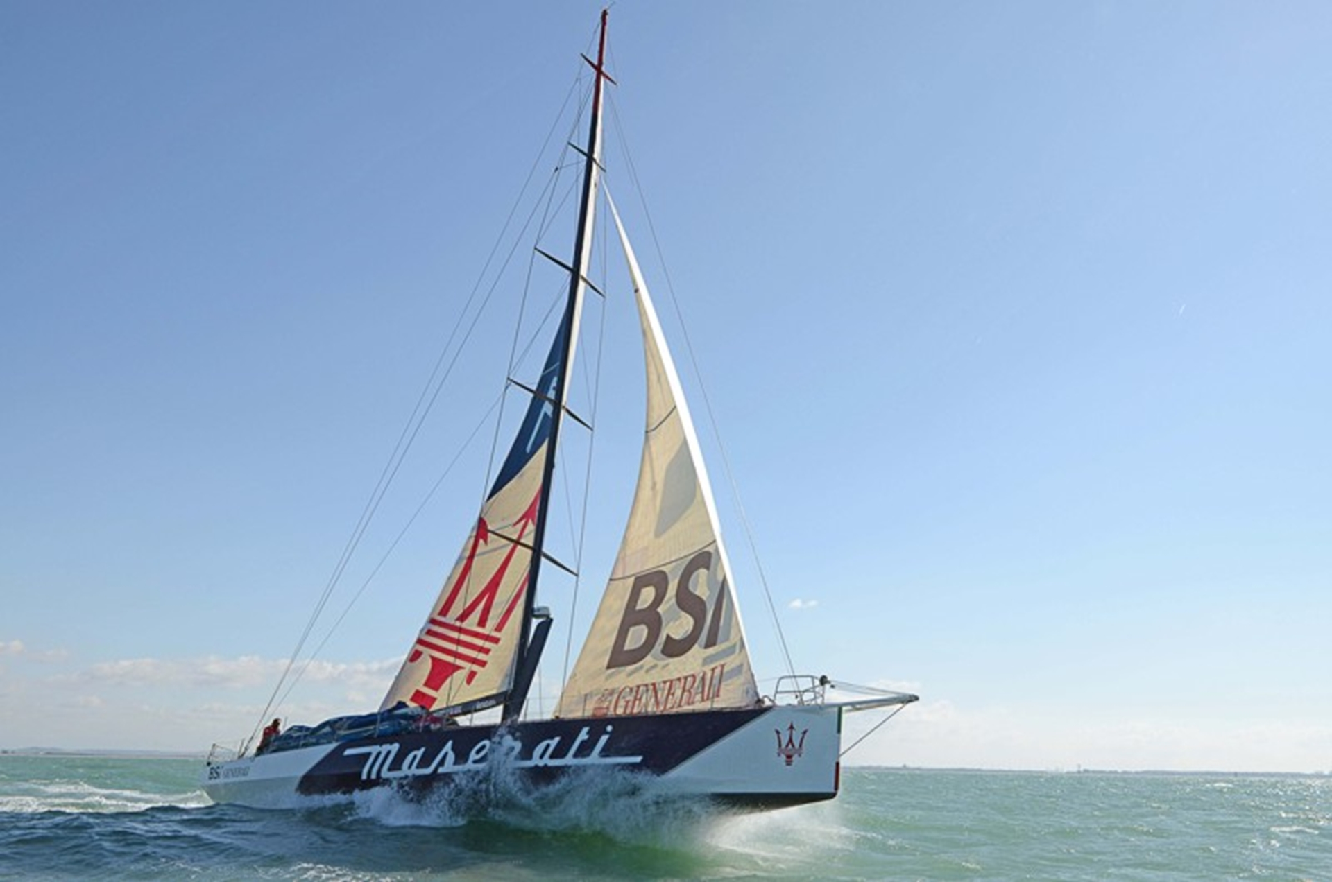 The Maserati Boat on the start line from Cadiz to San Salvador