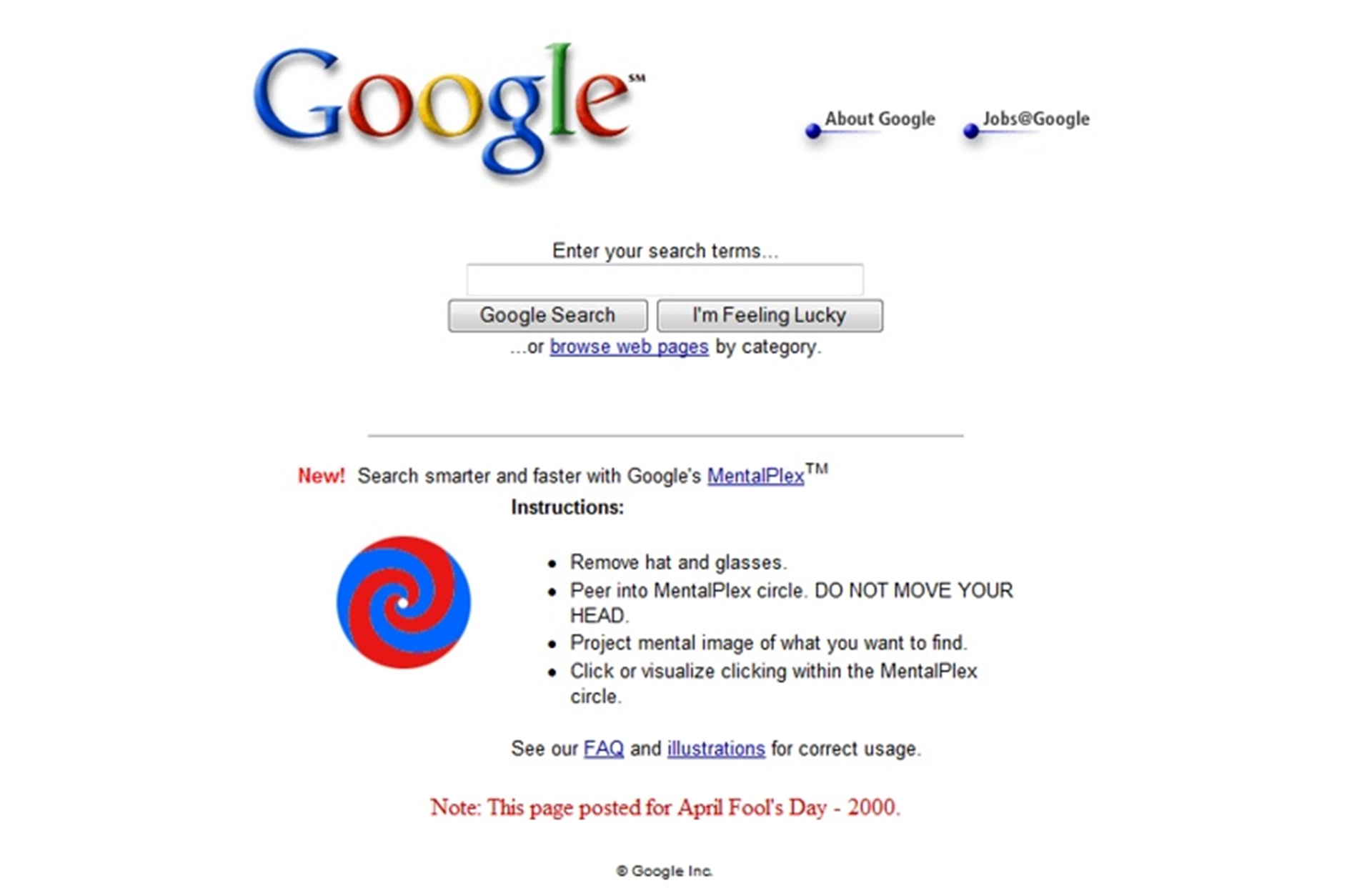 Google April Fool Joke 2000