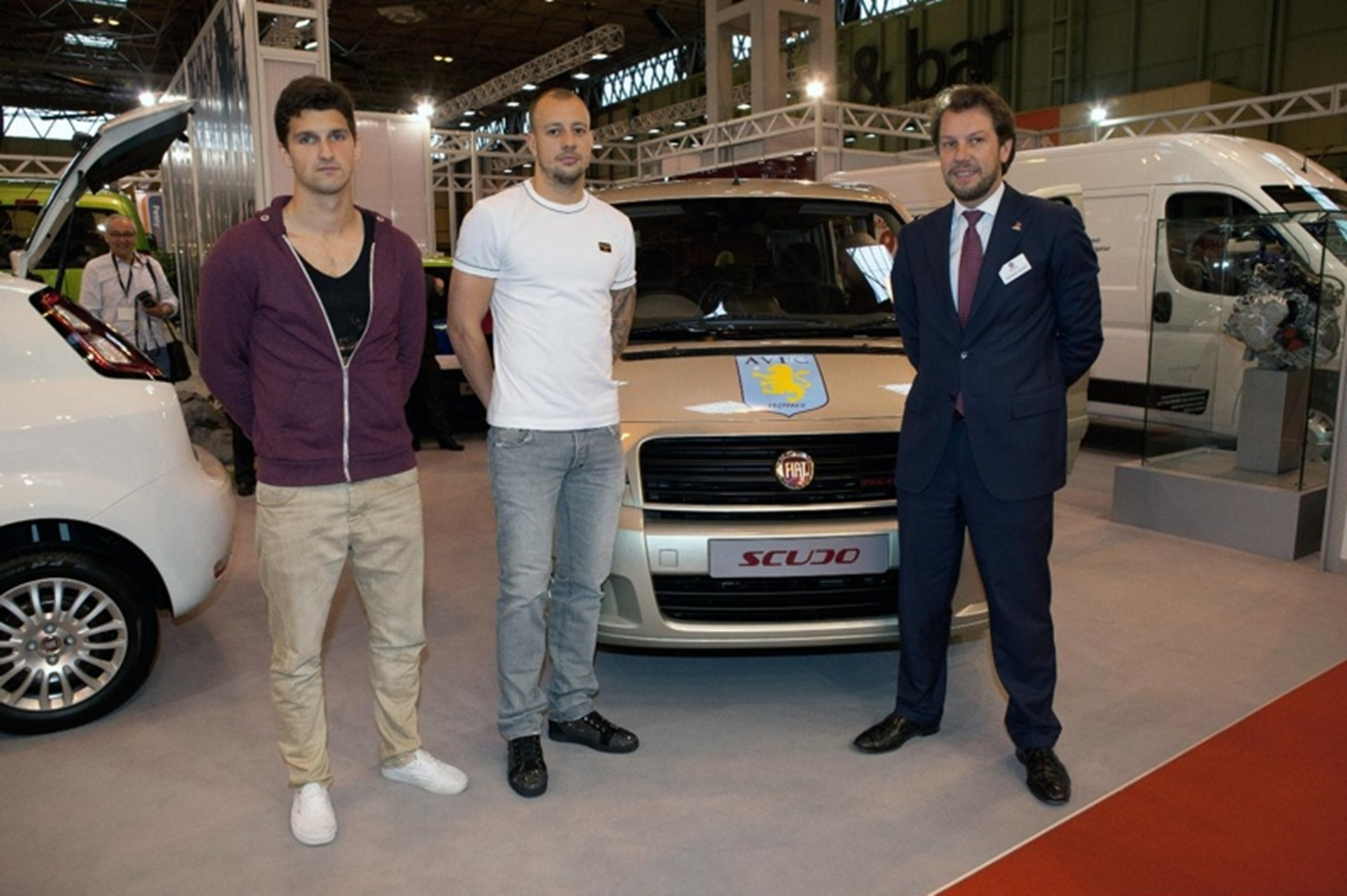 football stars line up to see new aston villa minibus
