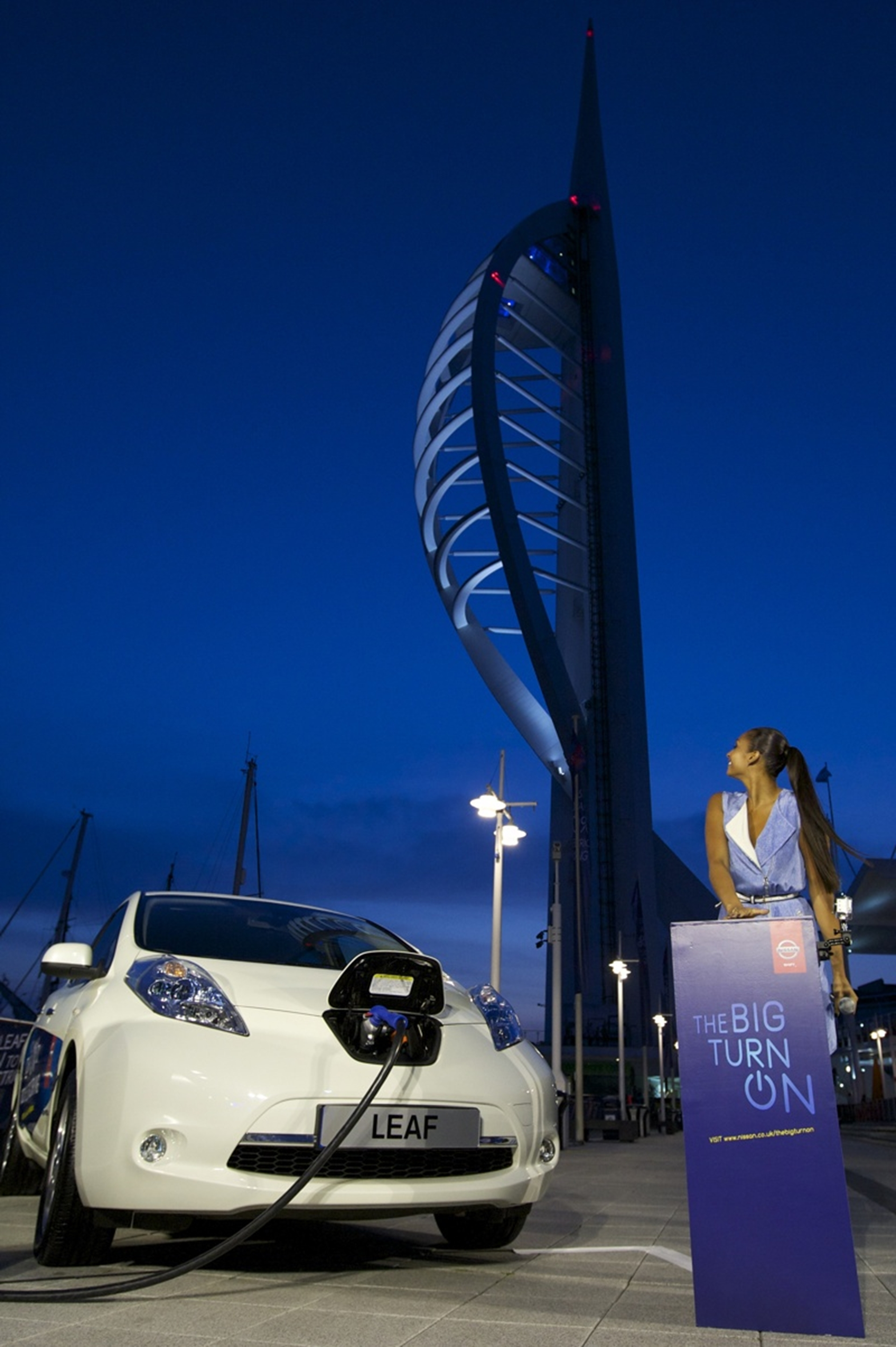 Alesha Dixon lit up Spinnaker Tower with Nissan LEAF