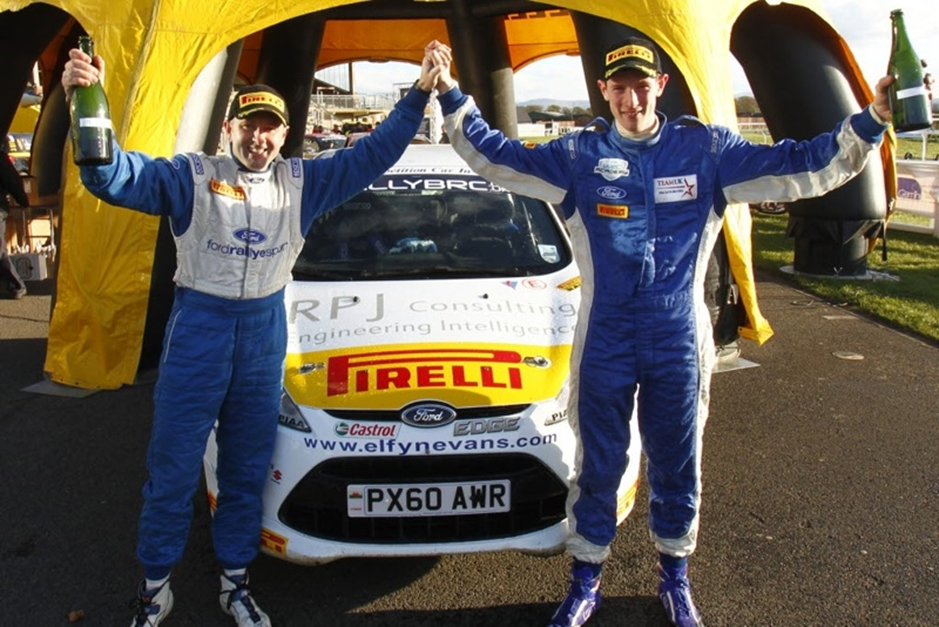 Elfyn Evans and Phil Pugh celebrate