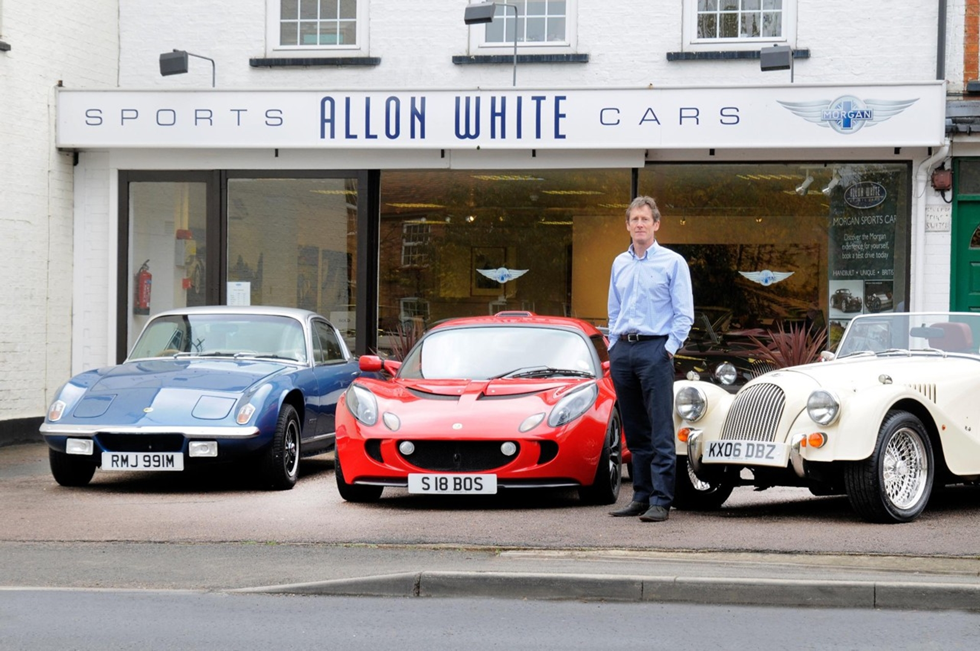 Allon White Sports Cars forecourt