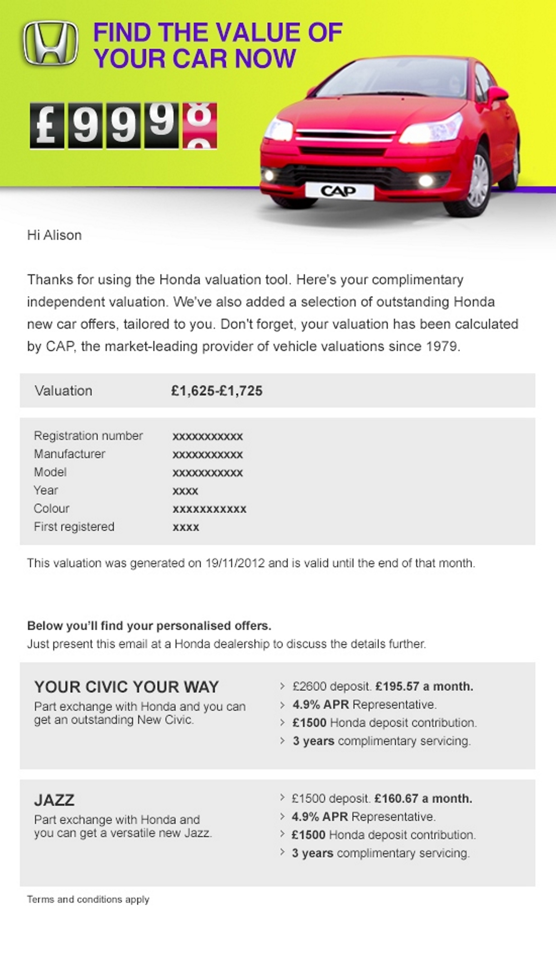 Honda Used Car Valuation Tool