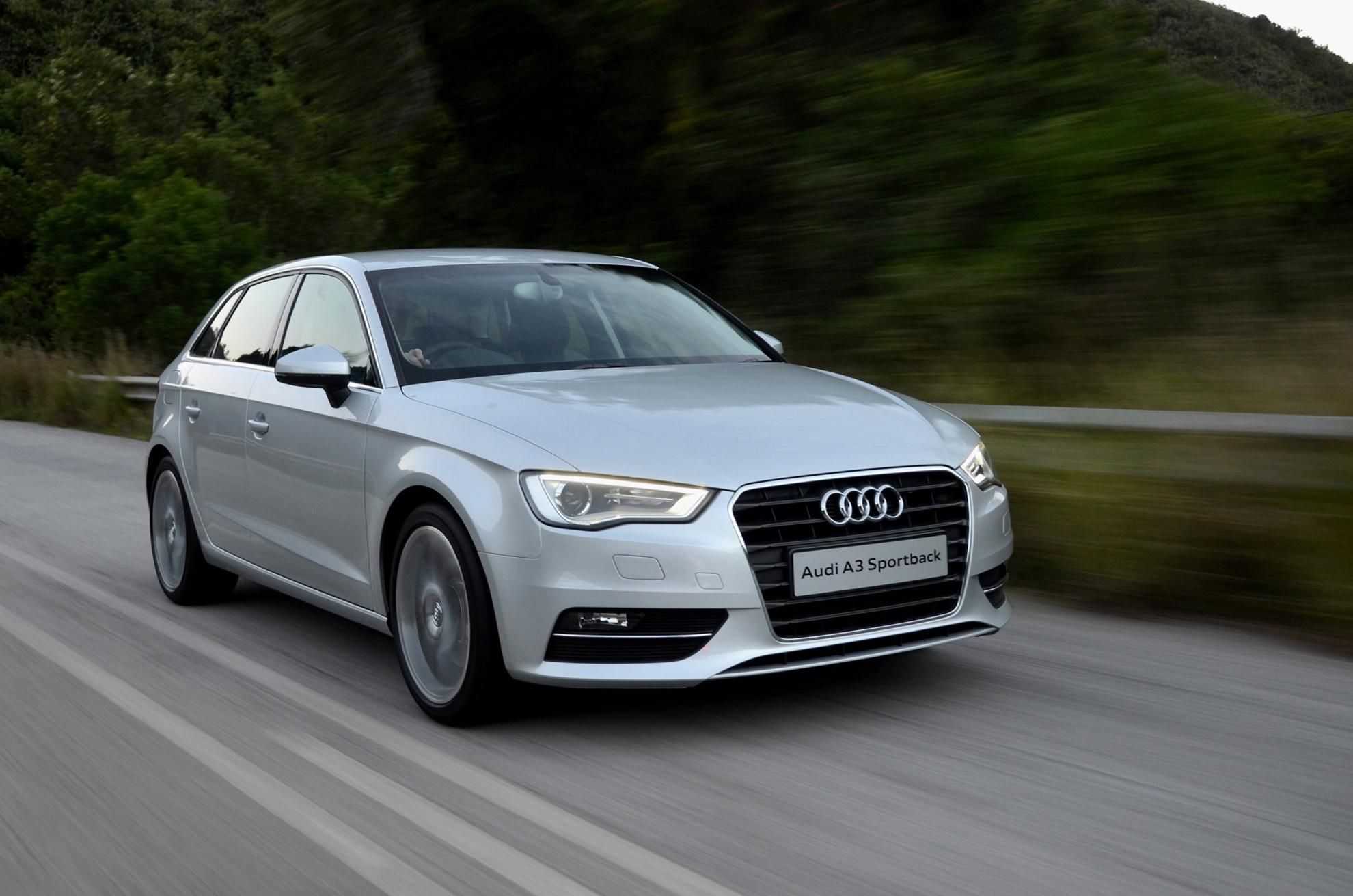 White Audi A3 2013 Driving Road