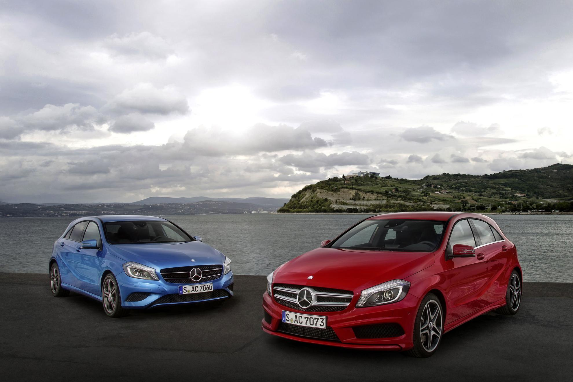 Blue and Red Mercedes Benz A Class