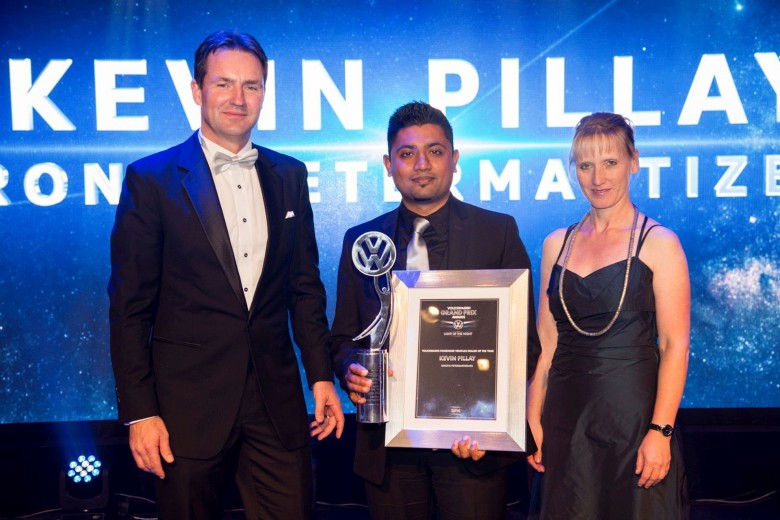 Kevin Pillay, Dealer Principal at Barons Pietermaritzburg (centre) with Thomas Schaefer, Managing Director: Volkswagen Group South Africa (left) and Petra Hoffmann, Director: Sales and Marketing, Volkswagen Group South Africa.