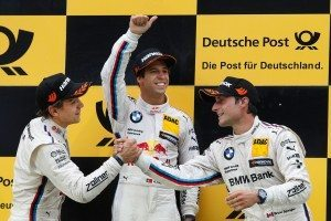 Zandvoort (NL) 12th July 2015. BMW Motorsport, Race 08, 2nd Place Driver Augusto Farfus (BR), Winner Antonio Felix da Costa (PT) and 3rd Place Driver Bruno Spengler (CA). This image is copyright free for editorial use © BMW AG (07/2015).